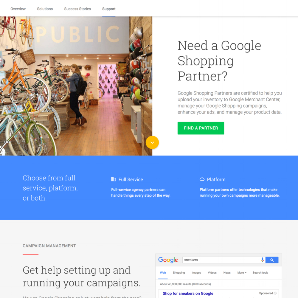 Google Partners - Google Retail and Certified Publishing Parter sites. UX Design, Content Strategy, Production, Copywriting