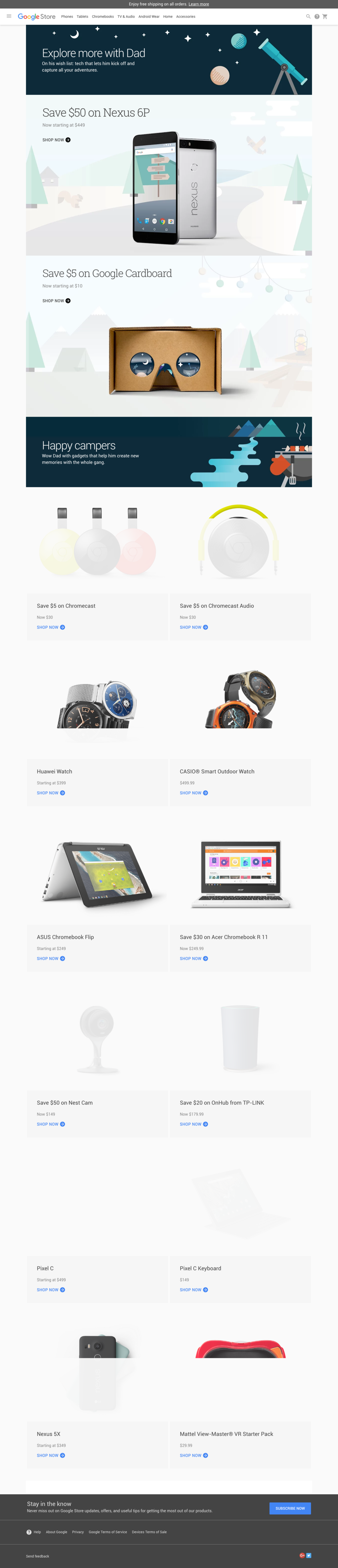 Google Store - Father's Day Promo page