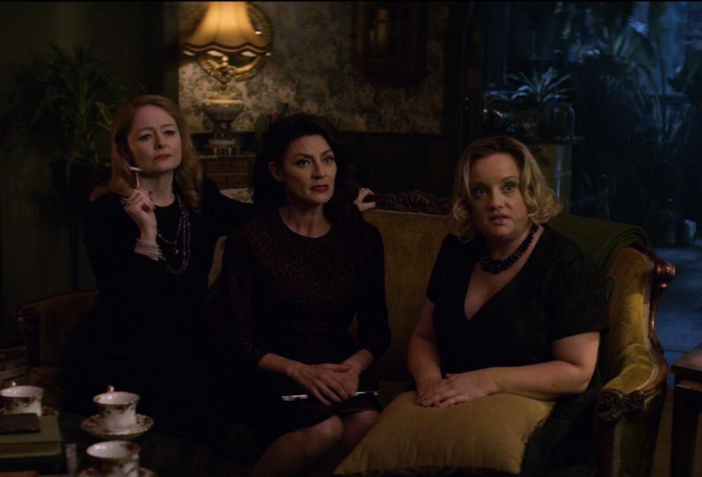 Zelda, Ms. M and Hilda have tea.