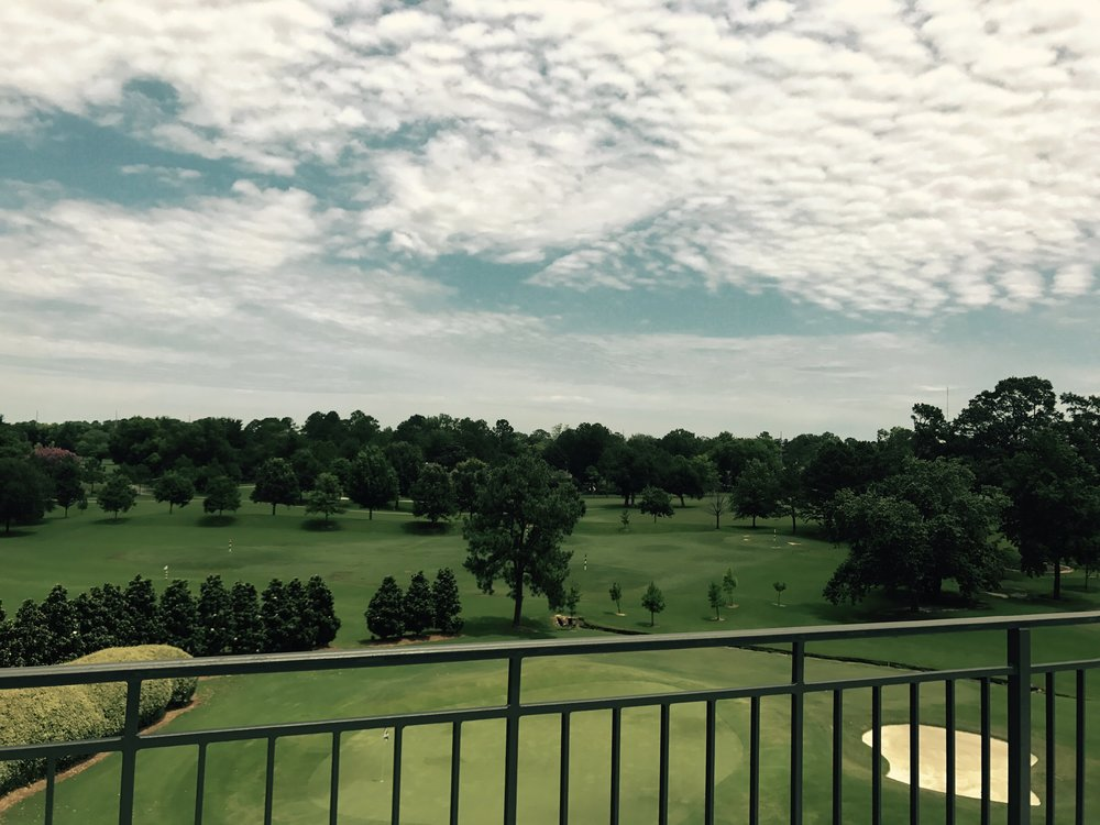 view of the golf course from the ballroom patio