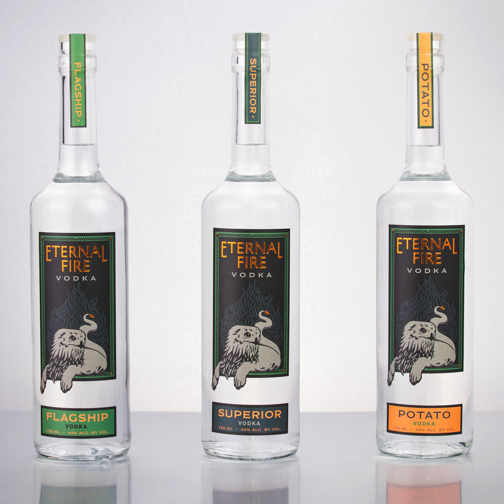 Eternal Fire Vodka packaging, 2017