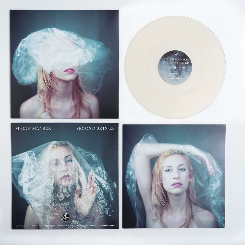 Vinyl packaging for  Second Skin EP  by Maiah Manser. Photography by Juan Franco