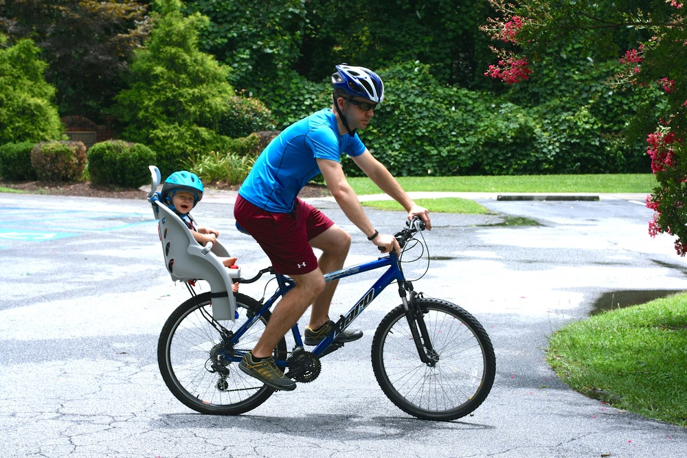 We  house-hunted on our bikes . It was the best way to do it! Everett never got fussy and we got to exercise! Which I'll admit, has definitely fallen by the wayside this summer. What didn't I do this summer? GET IN SHAPE.