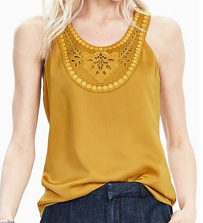 Banana Republic Sleeveless Embroidered Bib Top