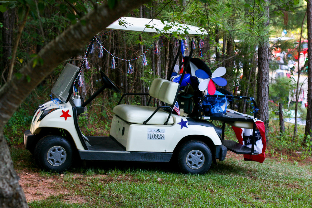 Our decorated golf cart! I just had to snap a pic of it all decked out.