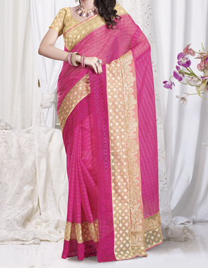Embroidered Saree in Fuchia