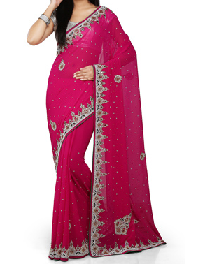 Dark Fuchia Saree