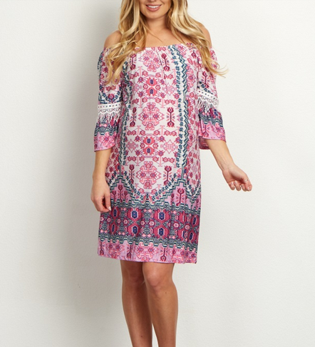 Pink Tribal Embroidered Dress