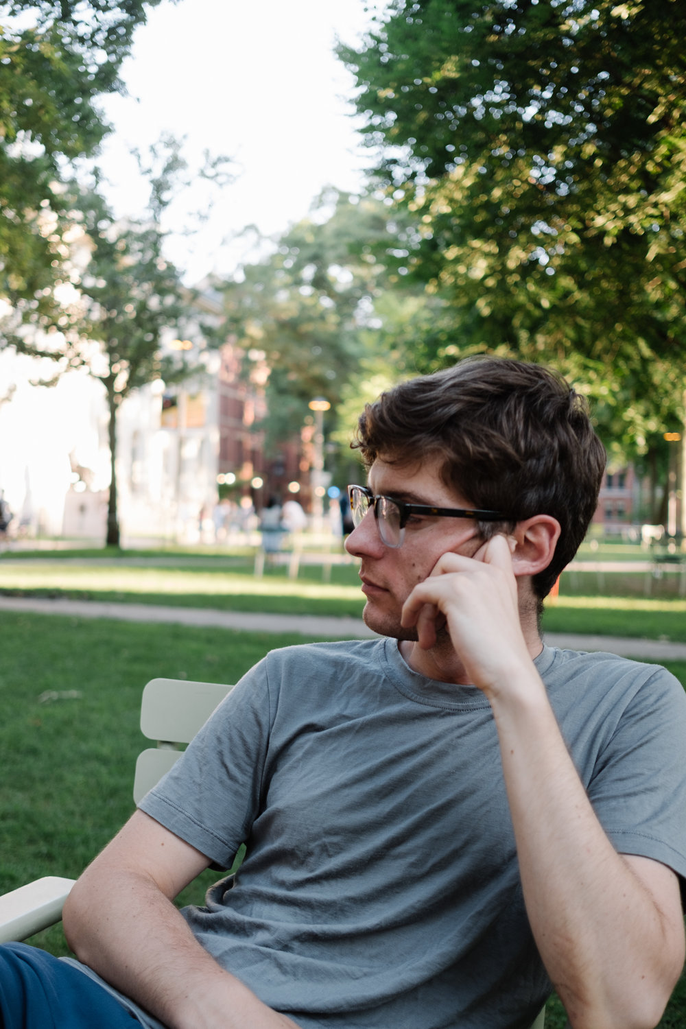 Sitting on Harvard's campus. Pretending we are students.