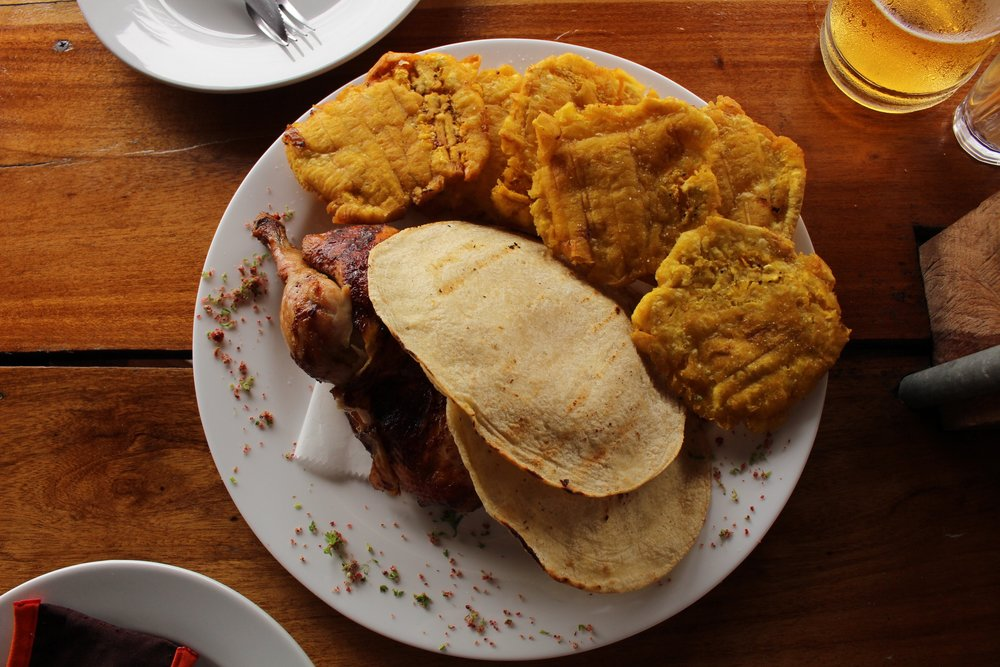 1/2 Rotisserie Chicken, Tortillas and Patacones (Fried Plantains)