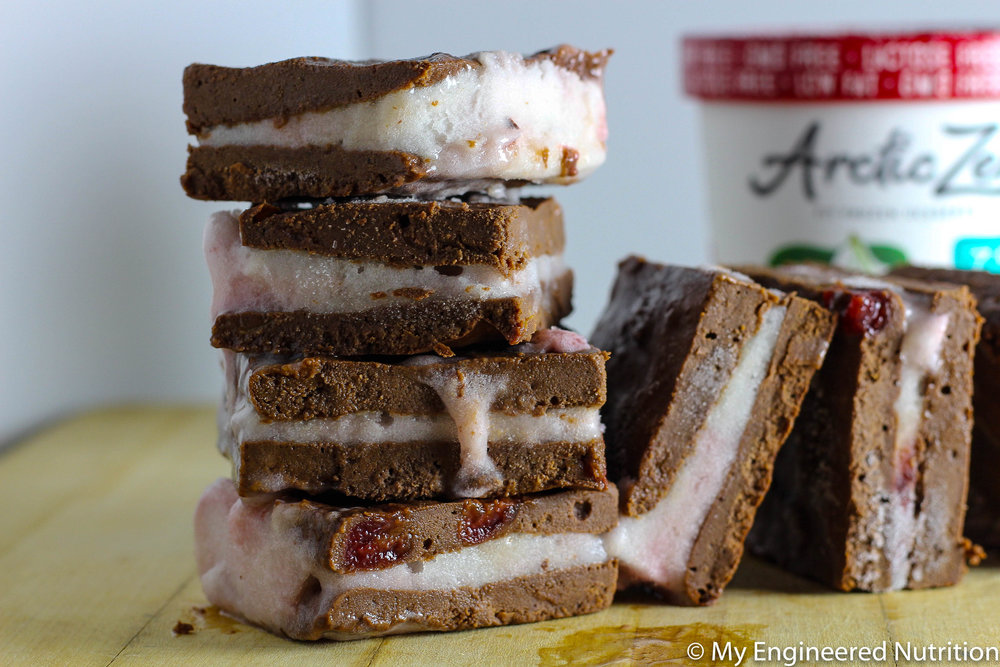Chocolate Cherry Brownie Ice Cream Sandwiches | My Engineered Nutrition