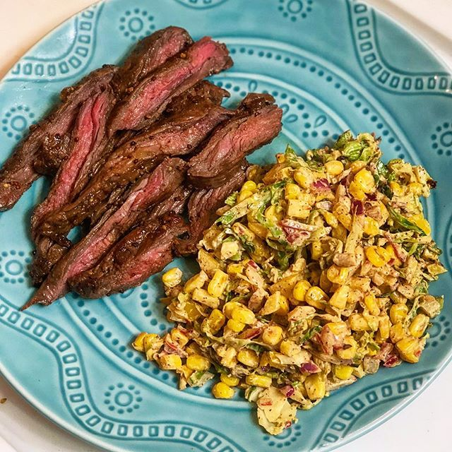 Woke up thinking of last night's dinner 💭and so happy I have leftovers to repeat this today 😏 Skirt Steak with Summertime Marinade 🥩 Soy sauce, Worcester Sauce, Dijon mustard, garlic, olive oil, salt and pepper. Let the steak marinade in that goodness for about 10 hours! Corn Salad 🌽 Sautéed frozen corn and shaved Brussels sprouts. Tossed those with chopped red onion and yellow bell pepper (raw), lime juice, cumin, garlic salt, chili powder and a little dollop is sour cream. Mixed it all up for an easy salad/side dish! Super easy and healthy meal to prepare! 👏🏼 #myengineerednutrition #summertime #steak #cornsalad