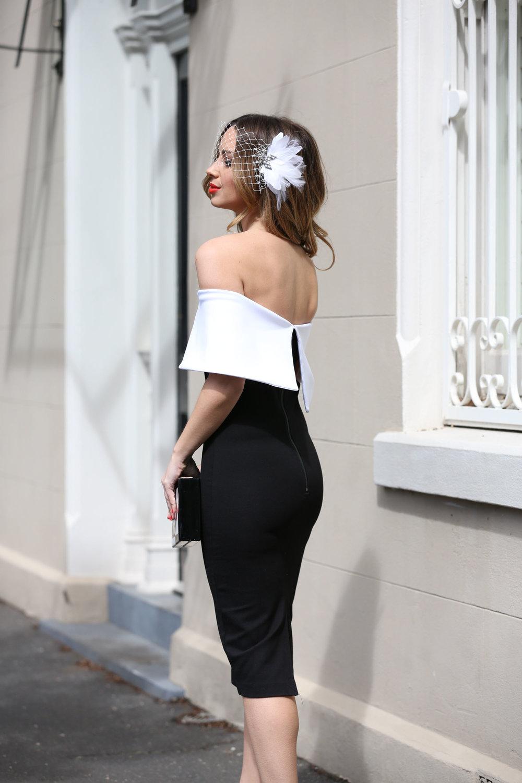 AUDREY MONOCHROME DRESS ON WWW.FRIENDINFASHION.COM.AU
