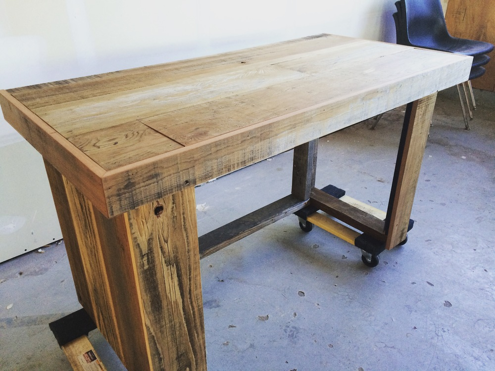 Part of our reclaimed wood entry table ready for finishing!