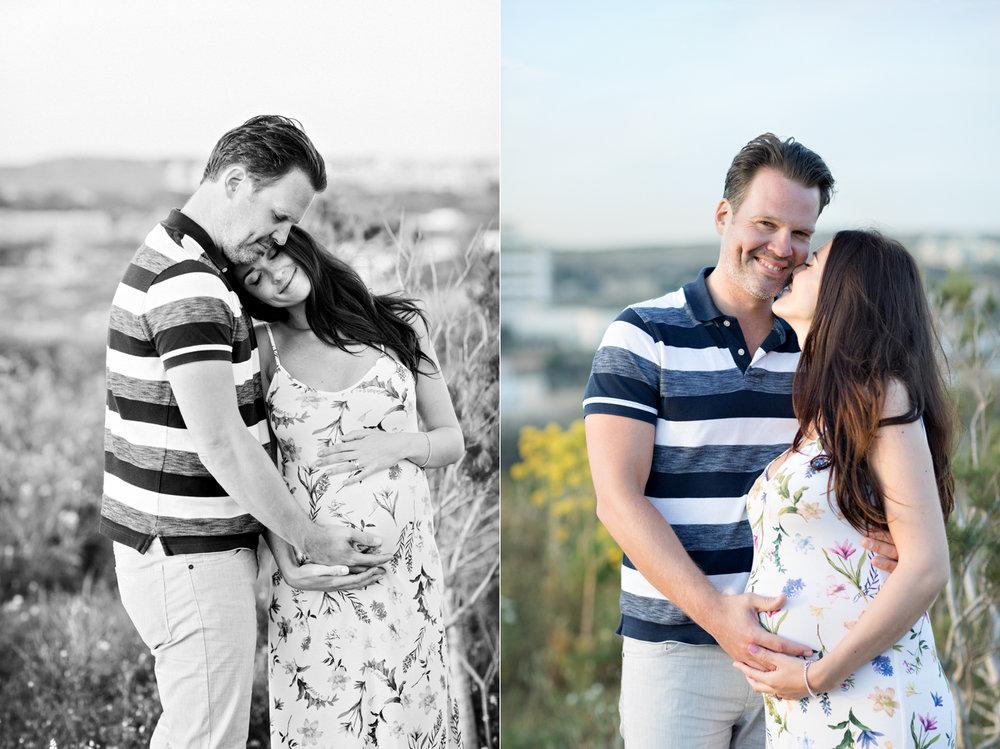 kisses, happy couple beach view gravid föräldrar maltafotograf precious baby riviera best of malta