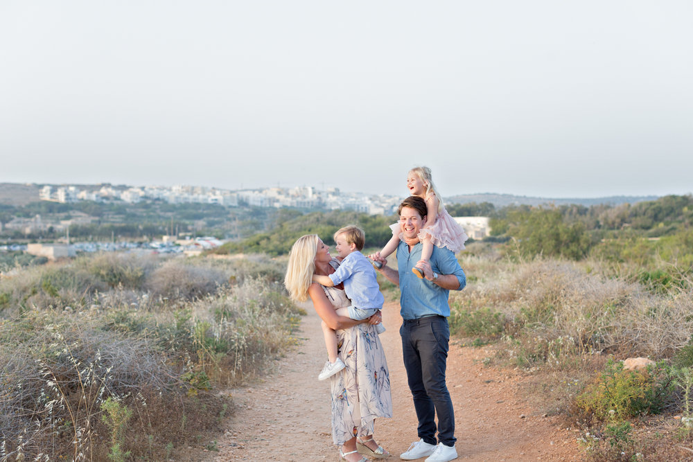 family photography malta, family photo shoot malta, Riviera bay Malta, natural light photographer, candid, sunset, Swedish photographer in Malta