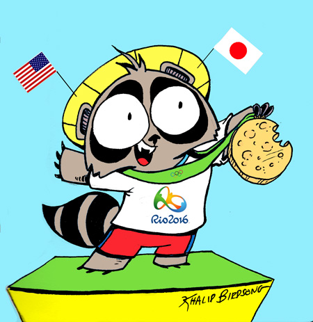 Congratulations athletes of the 2016 Olympic games!  Tanuki couldn't decide which country to support so he just went for both.