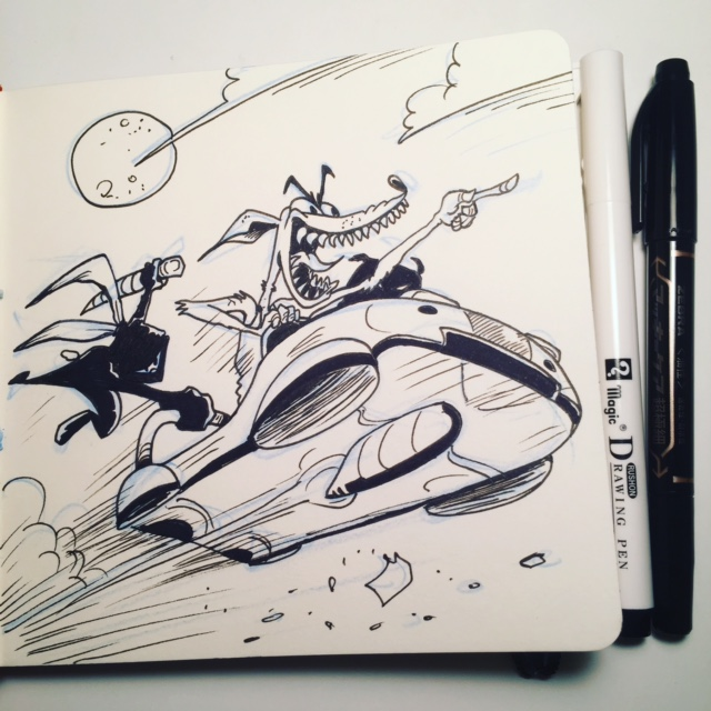 Ninja Space Bunny hangs on!  Day 1 of Inktober from the prompt FAST!