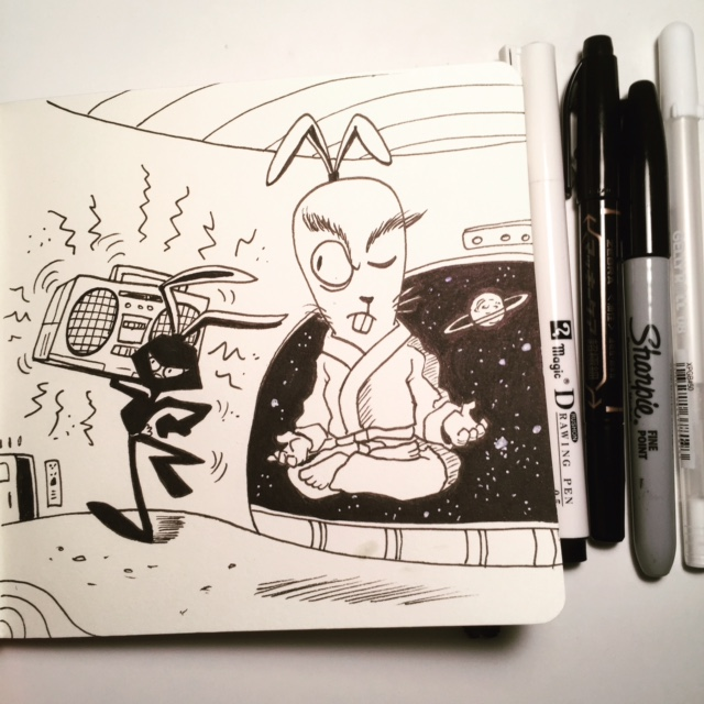 Ninja Space Bunny should keep his music down.  Inktober day 2- NOISY