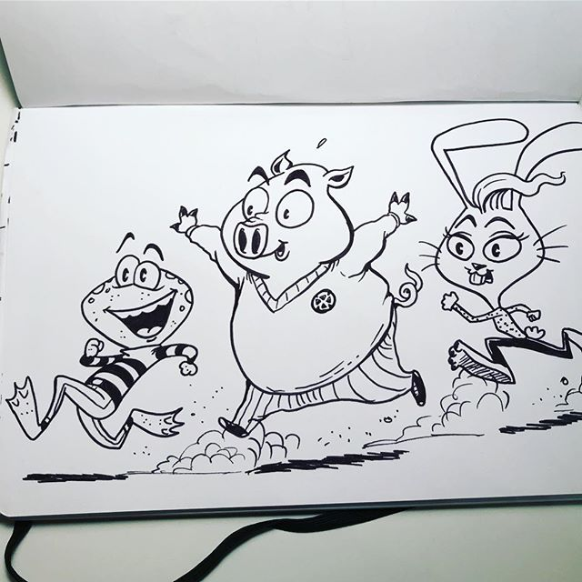 Recess!! #drawing #sketchbook #art #characterdesign #kids #recess #animal #character #cartoon #cartooning #design #frog #pig #rabbit #bunny #comics #sketch #artistsoninstagram