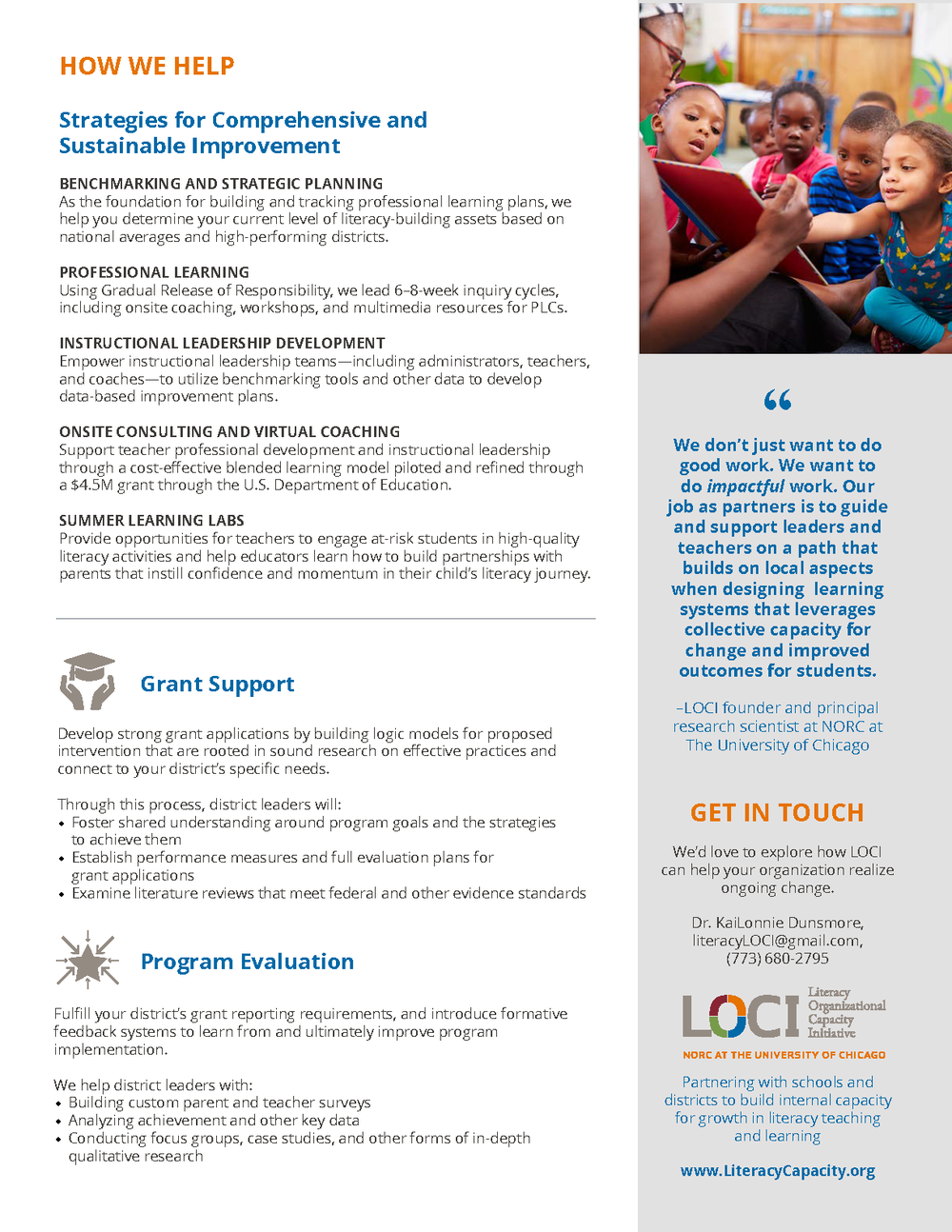 Brochure Designed for LOCI  -  Back
