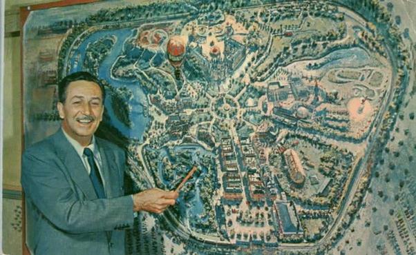 Walt Disney e o projeto dos parques temáticos, em Anaheim, na California- Fonte: Disney Wikia