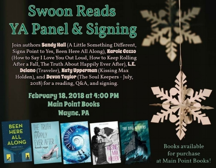 Come hang out with me and some of my favorite fellow Swoon Squad members as we chat all things books, writing, romance, and adventure in YA. Look forward to seeing you there!