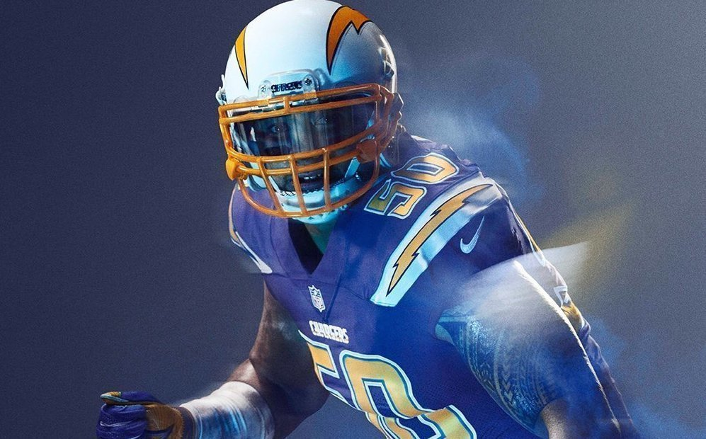 The white helmet with the yellow face mask does a great job of contrasting with the Chargers' Color Rush blue unis and really complements the yellow numbers.