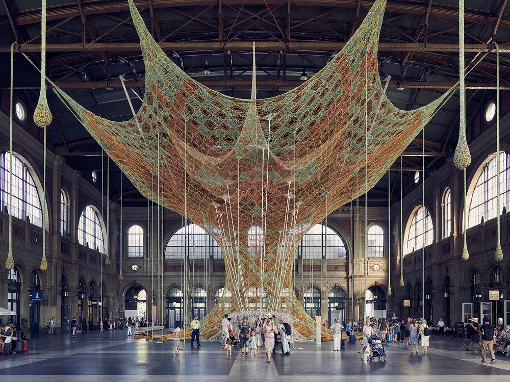 Ernesto Neto's GaiaMotherTree Installation at Zurich Mainrailway Station - Zürich Hauptbahnhof.jpg