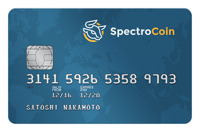 Spectrocoin offers virtual and physical cards. Instant loading from SpectroCoin wallet. No ID verification required. Cards in several currencies USD (dollar), EUR (euro) and GBP (pound). Multiple digital currencies supported. Low fees and unlimited lifetime withdrawals and deposits to the bitcoin debit card for verified cardholders. card costs 9 USD/8 EUR/6 GBP