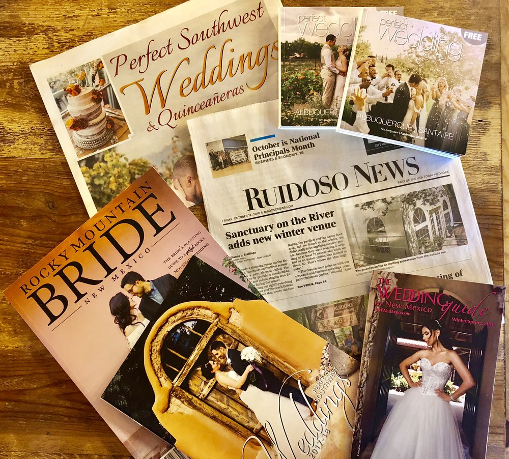 A steady and strategic marketing plan has been a constant at Sanctuary on the River since its inception. The property has received favorable press in not only bridal publications but also in larger, mainstream publications including New Mexico Magazine and Su Casa Magazine.