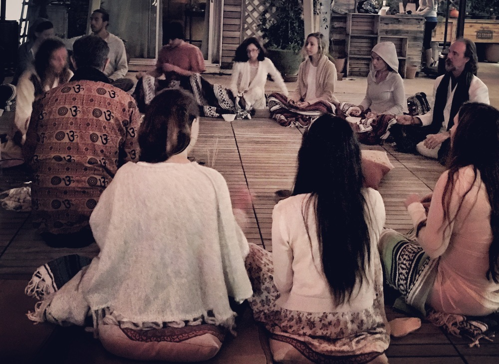 Our Traditional Ceremony captured on our very first gathering in January. Vedic Puja lead by Healing Touch Vinyasa Teacher Arati and her partner Alan on the far left.