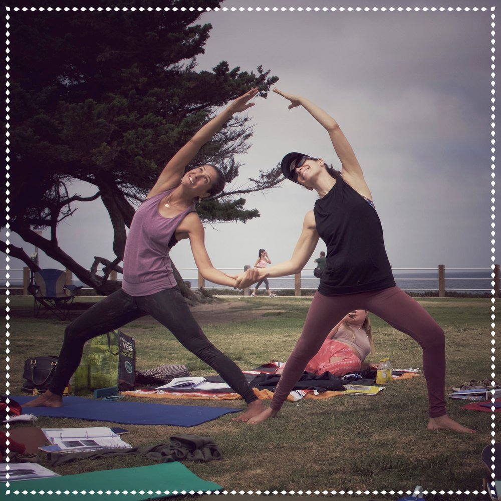 Angela Moran and Tah Groen, Yoga in La Jolla during Healing Touch Vinyasa Yoga Training