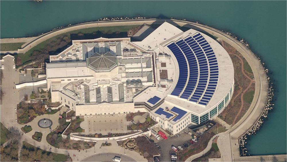 CHICAGO, ILLINOIS PROJECT: JOHN G. SHEDD AQUARIUM EPC: INOVATEUS SOLAR / RUTHERFORD ROOFING RAIL MANUFATURER: SCHLETTER ANCHOR PRODUCT USED:  U-ANCHOR 2600 Coating PROJECT SIZE:  250 KW, 913 PHOTOVOLTAIC SOLAR PANELS