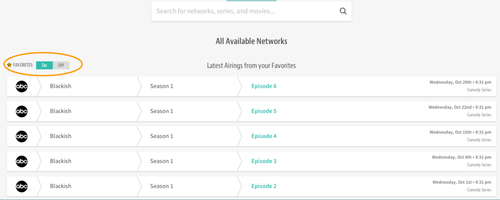 The favorites toggle allows you to view only your favorite shows and networks