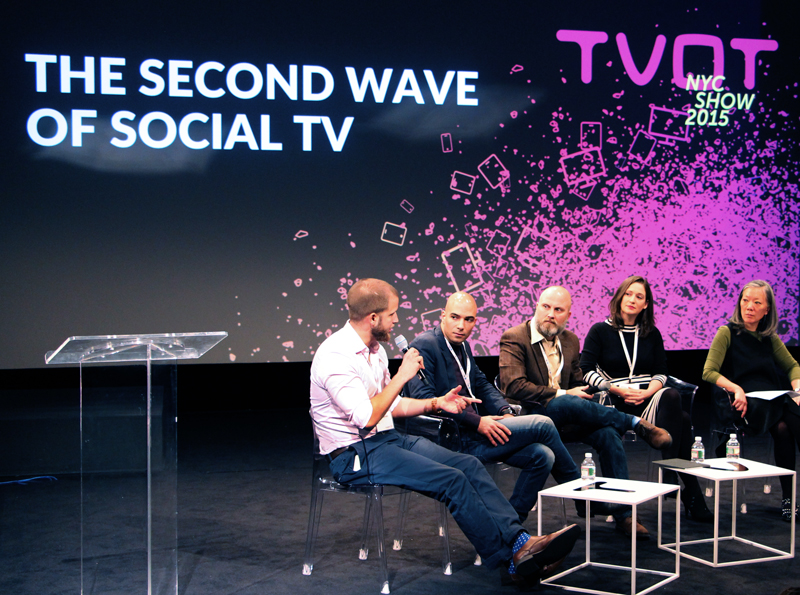 "Canvs Founder & CEO Jared Feldman speaking on ""The Second Wave of Social TV"" panel at TVOT NYC 2015."