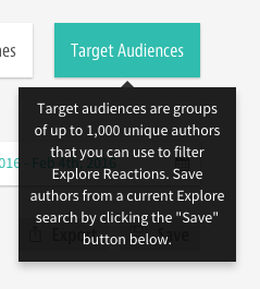 Tooltip of Target Audiences