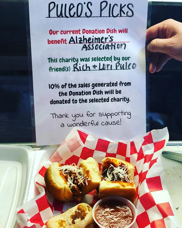 Sold 38 #BenBites for #stjudes but now it's time for #PuleosPicks for #alzheimersassociation for the next few weeks! #donationdish #foodtruck #charity