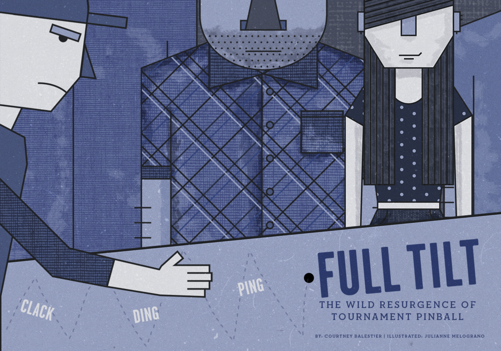An illustration about pinball tournaments as a spectator sport.