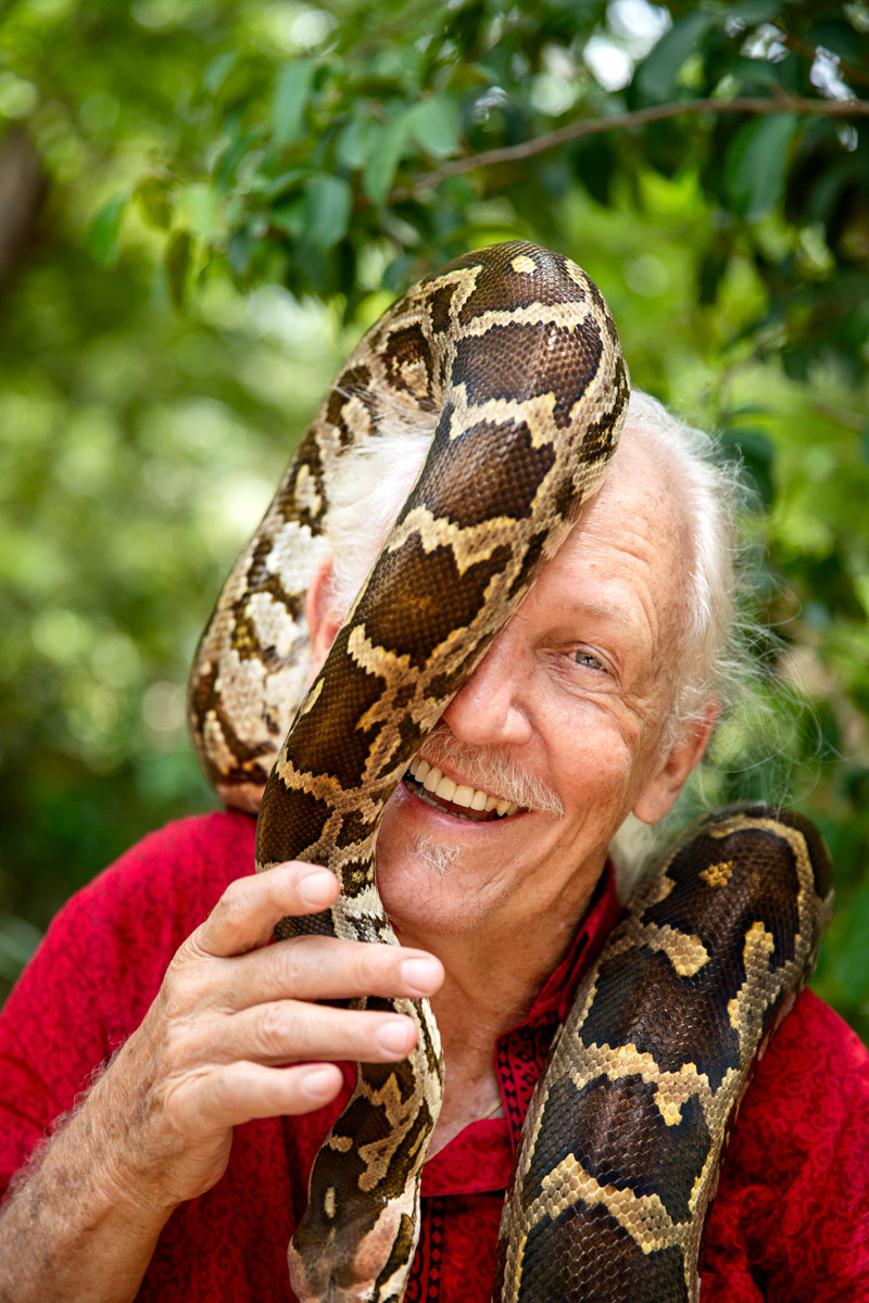 """ROMULUS WHITAKER HERPETOLOGIST """"Snakes came to the fore when I was four,"""" Romulus Whitaker says, laughing at his pun. Whitaker's career is now in its sixth decade. Born in the USA, he moved to India when he was seven and was always drawn to """"little bugs and beetles and all that kind of stuff"""". His interest hasn't waned; a Padma Shri award-winner, Whitaker is at the forefront of reptile conservation. He set up institutions like the Chennai Snake Park in 1972, the Madras Crocodile Bank and Centre for Herpetology in 1976, and the Agumbe Rainforest Research Station in 2005. It is work that has shaped the conversation around wildlife conservation in India. """"I think people are pretty shaky about reptiles (Aaa, snakes! Eww, crocodiles!), but they look at us, our seriousness and our love for the animals, and I think they develop a more relaxed attitude to something they're otherwise scared of,"""" Whitaker says. There's a long way to go yet, he acknowledges. """"We've hardly scratched the surface."""""""