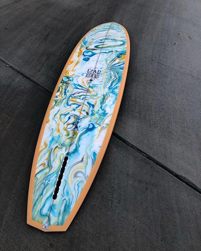 """7'2"""" Speedhull by @deadkooks #deadkooks #resinart #singlefin #surfboard"""