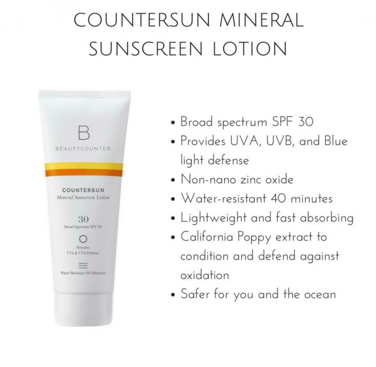 COUNTERSUN MINERAL SUNSCREEN LOTION SPF 30  A hydrating, lightweight zinc oxide formula that works for everyone, from babies and sensitive-skin-sufferers to outdoor-sports enthusiasts. The broad-spectrum water-resistant formula protects against UVA, UVB, and blue light, and it's packed with antioxidants and aloe vera. It sinks beautifully into skin and smells faintly of tangerine and lemon. 6.7 oz