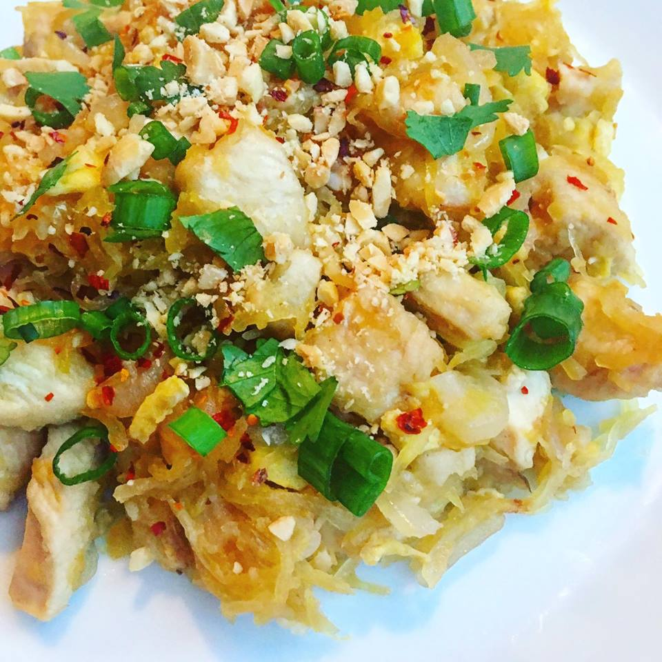 Spaghetti squash chicken pad thai jess dukes this recipe was adapted from the beachbody blog i wanted to make it my own and add more protein to it i was a little hesitant to try this forumfinder Image collections