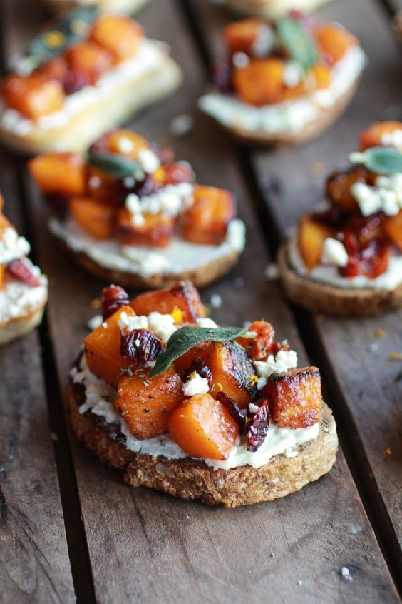 Caramelized Butternut Squash & Gorgozola Crostini