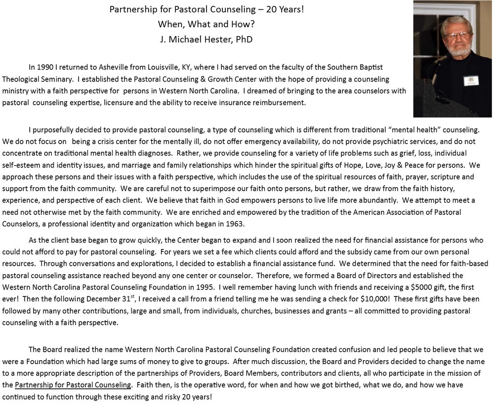 Our Founder J Michael Hester Phd Partnership For Pastoral