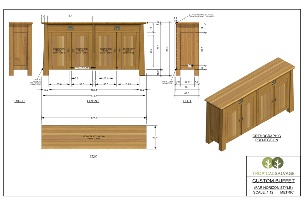 This is a custom buffet I drafted while doing contract work for the furniture company, Tropical Salvage.