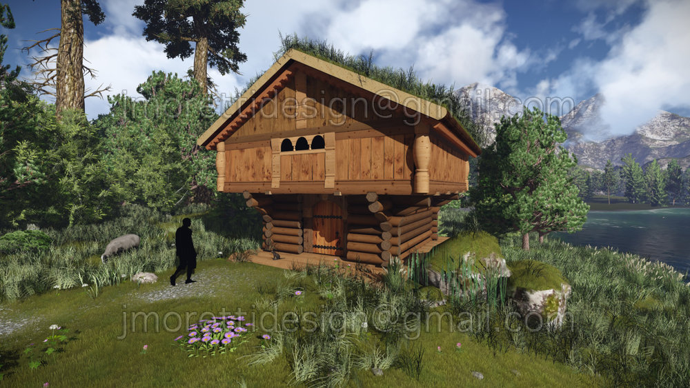 A Nordic Cabin created first in Sketch-up and then imported into Lumion to texture and render.