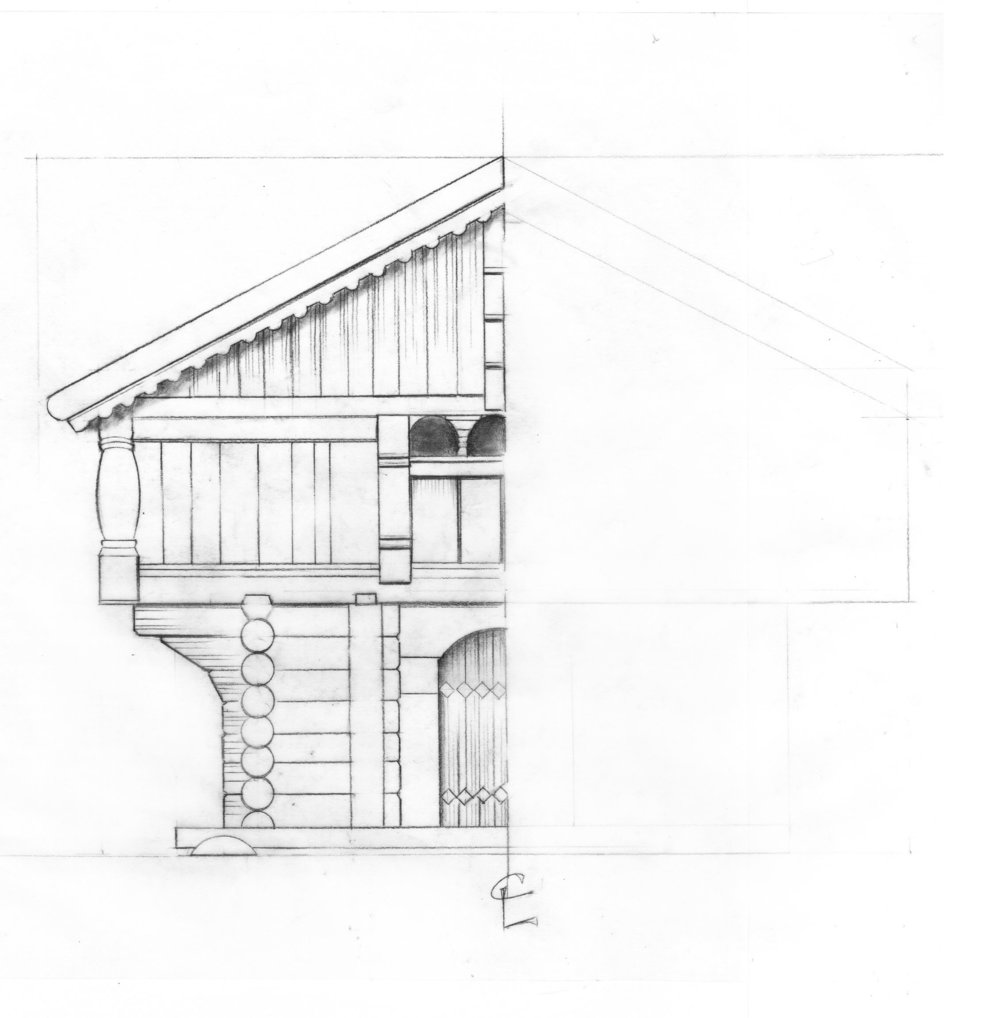 The beginning rough drafting of the Nordic Cabin.