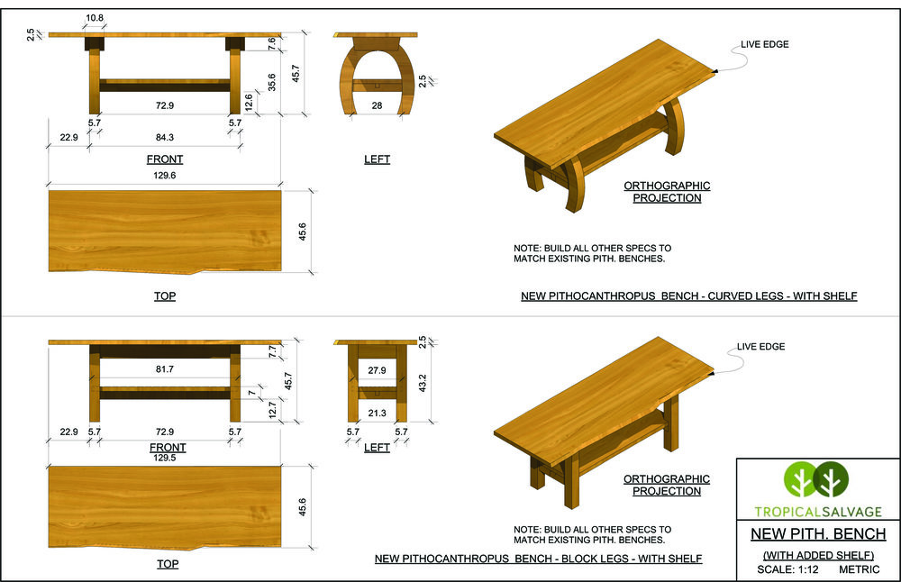 """Options for a """"Pithocanthropus"""" bench that a client requested."""