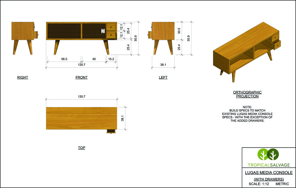 We developed some more mid-century flavored furniture, the Lugas Media Console being one of the options.